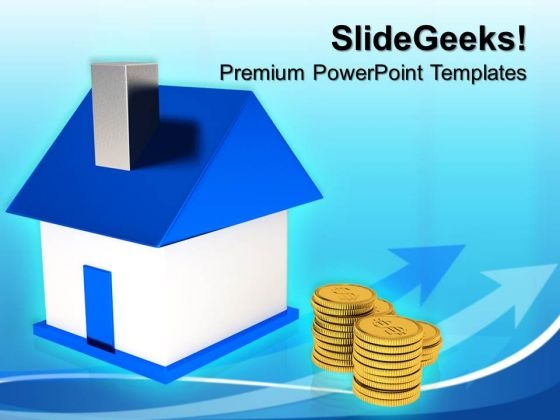 Home With Money Finance PowerPoint Templates And PowerPoint Themes 0812