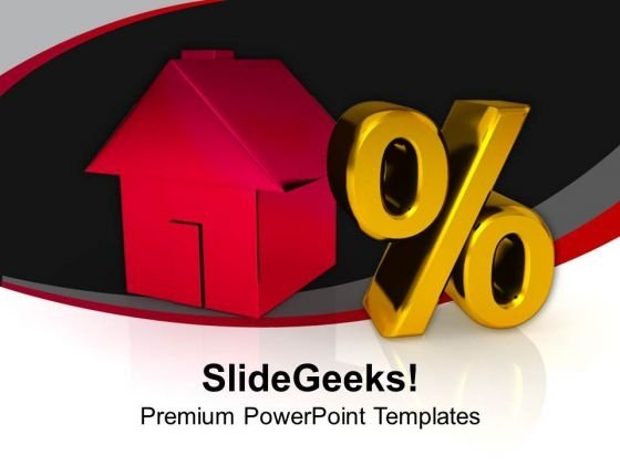 Home With Percent Growth Real Estate PowerPoint Templates Ppt Backgrounds For Slides 0213