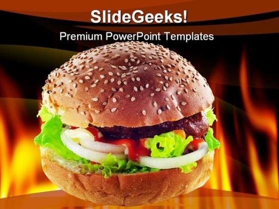 Hot Burger Food PowerPoint Template 0810