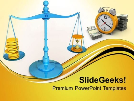 Hourglass And Coins On Scales Concept PowerPoint Templates Ppt Backgrounds For Slides 0813