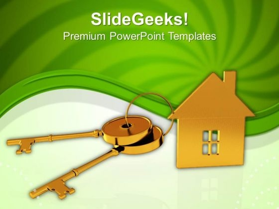 House Connected With Keys Real Estate PowerPoint Templates Ppt Backgrounds For Slides 0113