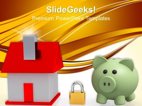 House Locked With Padlock And Bank Security PowerPoint Templates And PowerPoint Themes 0912