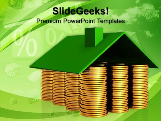 House Made From Coins Money PowerPoint Templates And PowerPoint Themes 1012
