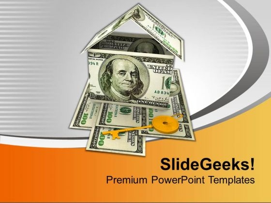House Made With Dollar Bills Golden Key PowerPoint Templates Ppt Backgrounds For Slides 0213