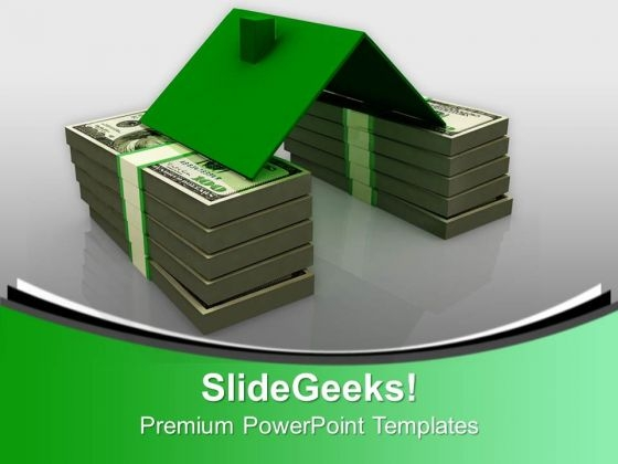 House Roof On Money Stack Finance PowerPoint Templates Ppt Backgrounds For Slides 0113