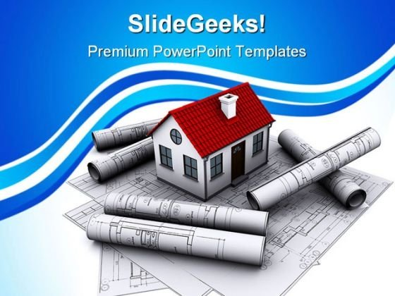 House With Constrcution Map Real Estate PowerPoint Themes And PowerPoint Slides 0411