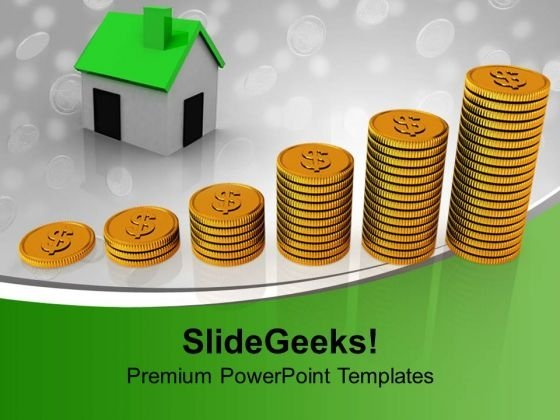 House With Finance Growth Real Estate PowerPoint Templates And PowerPoint Themes 1112