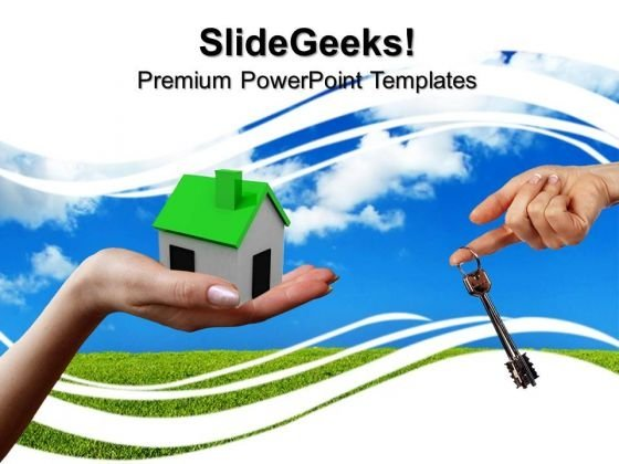 House With Key Real Estate PowerPoint Templates And PowerPoint Themes 0812