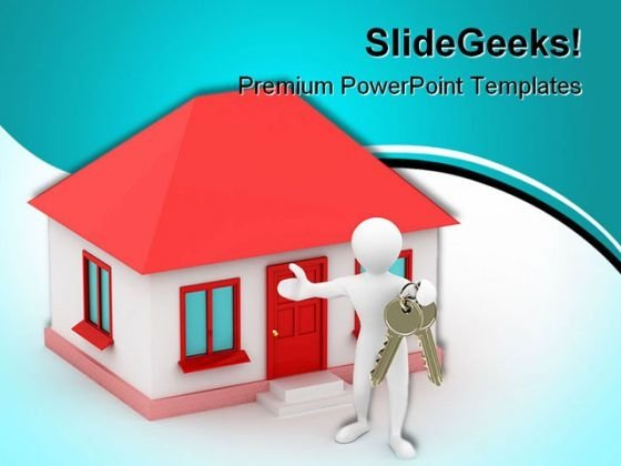 House With Key Realestate PowerPoint Backgrounds And Templates 0111