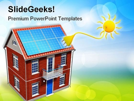 House With Solar Batteries Environment PowerPoint Templates And PowerPoint Backgrounds 0411