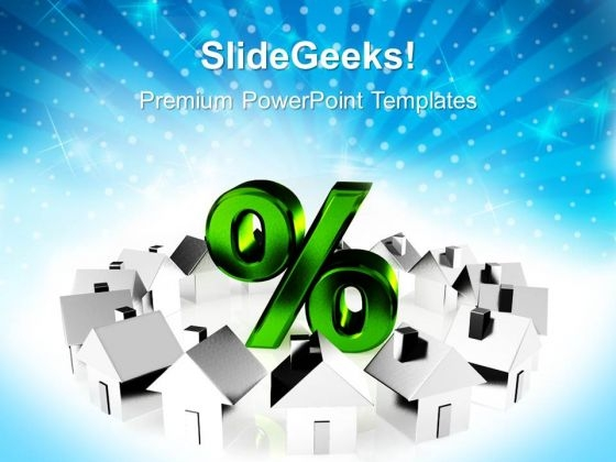 Houses And Percent Symbol Architecture PowerPoint Templates Ppt Backgrounds For Slides 1212