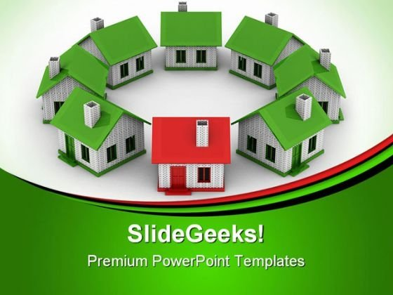 Houses Standing Real Estate PowerPoint Themes And PowerPoint Slides 0511