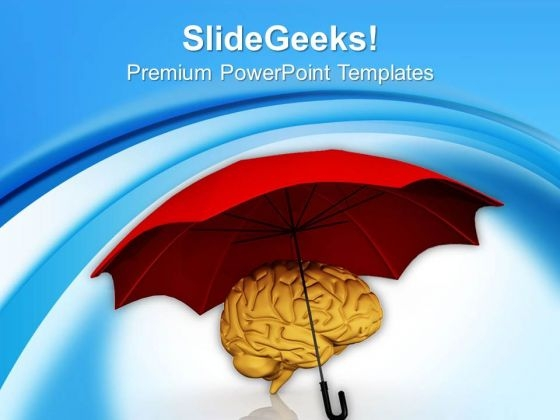 Human Brain Under Umbrella PowerPoint Templates Ppt Backgrounds For Slides 0713