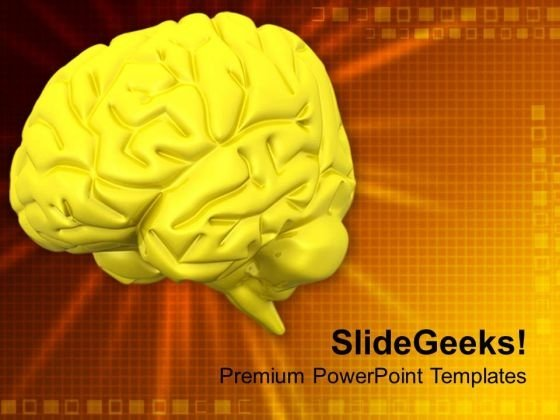 Human Brain With Golden Background PowerPoint Templates Ppt Backgrounds For Slides 0713