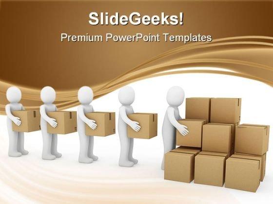 Human Carton Shipping Business PowerPoint Templates And PowerPoint Backgrounds 0311