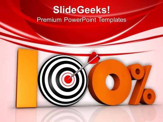 Hundred Percent Target Achievement Business PowerPoint Templates Ppt Backgrounds For Slides 0413