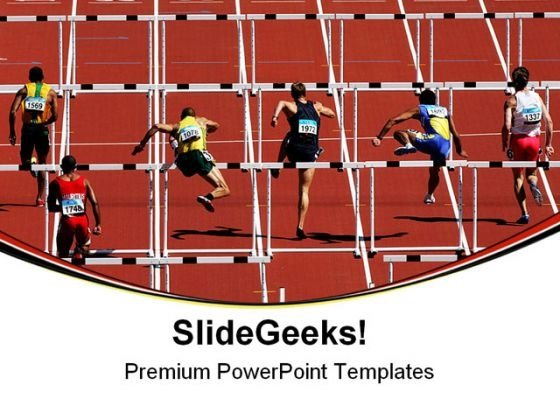 Hurdles Sports Competition PowerPoint Templates And PowerPoint Backgrounds 0611