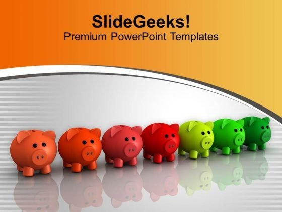Illustration Of Colorful Piggy Banks PowerPoint Templates Ppt Backgrounds For Slides 0313