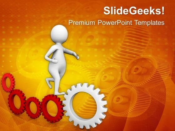 Illustration Of Gear Mechanism And Development PowerPoint Templates Ppt Backgrounds For Slides 0513