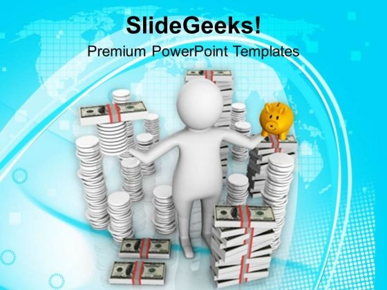 Illustration Of Money Saving Concept PowerPoint Templates Ppt Backgrounds For Slides 0713