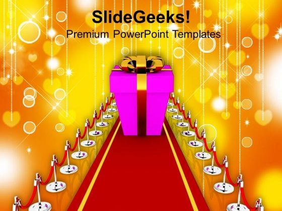 Illustration Of Red Carpet And Gift PowerPoint Templates Ppt Backgrounds For Slides 0713