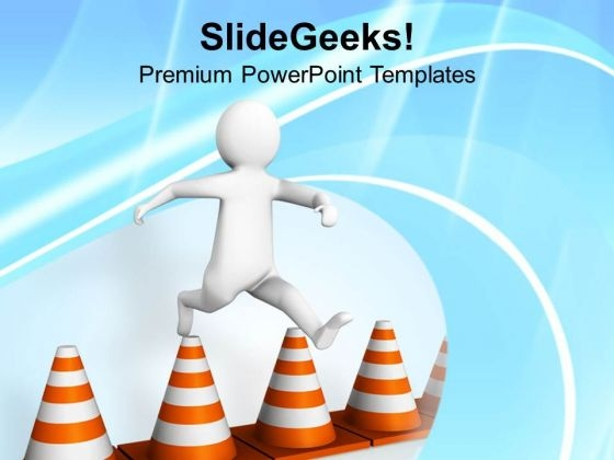 Image Of A Man Crossing Traffic Cones PowerPoint Templates Ppt Backgrounds For Slides 0713