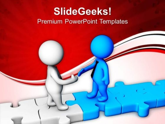 Image Of Handshake On Jigsaw Puzzle PowerPoint Templates Ppt Backgrounds For Slides 0713