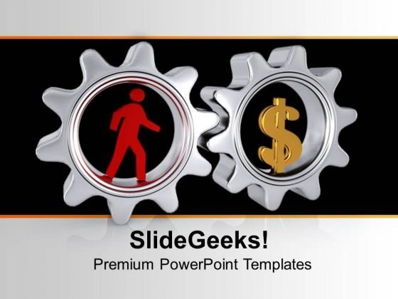 Image Of Man With Gears And Dollar PowerPoint Templates Ppt Backgrounds For Slides 0713