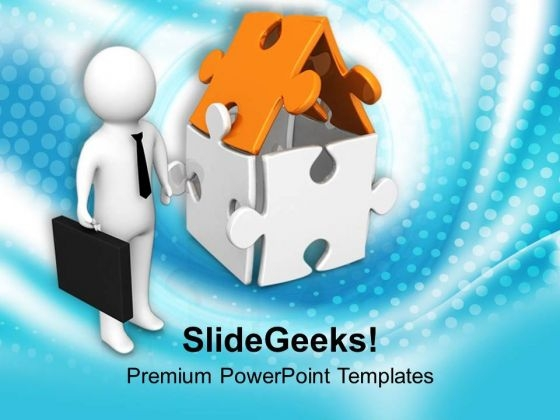 Image Of Man With Home PowerPoint Templates Ppt Backgrounds For Slides 0713