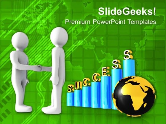 Image Of Success Bar Graph With Handshake PowerPoint Templates Ppt Backgrounds For Slides 0713