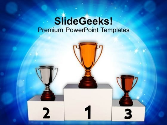 Image Of Winner Trophies Podium PowerPoint Templates Ppt Backgrounds For Slides 0113