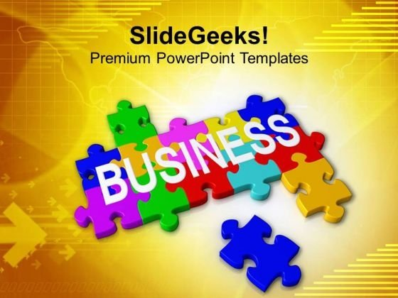 Interconnected Business Puzzle Pieces PowerPoint Templates Ppt Backgrounds For Slides 0413