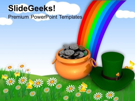 Irish Leprechaun Hat With Rainbow PowerPoint Templates Ppt Backgrounds For Slides 0313