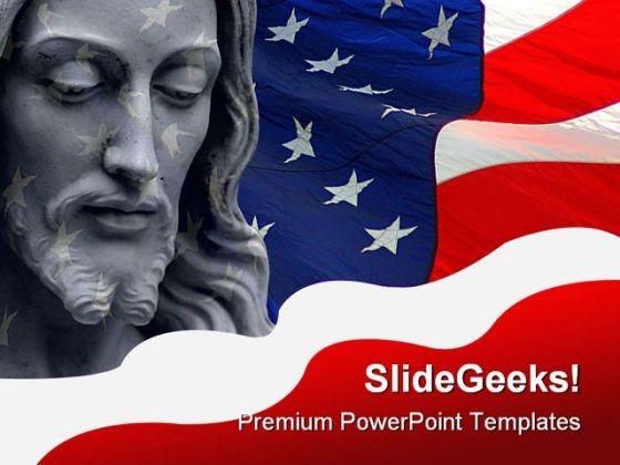 Jesus America PowerPoint Template 0610