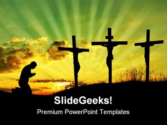 Jesus Pray Religion PowerPoint Template 0610