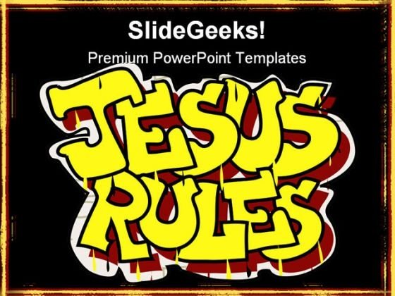 Jesus Rules Religion PowerPoint Template 0610