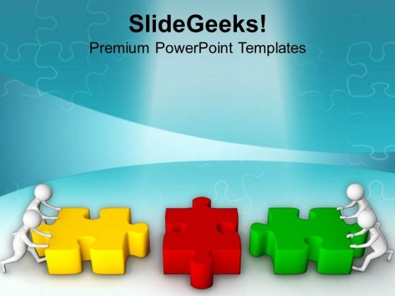 Join The Two Jigsaw Puzzles Complete PowerPoint Templates Ppt Backgrounds For Slides 0813