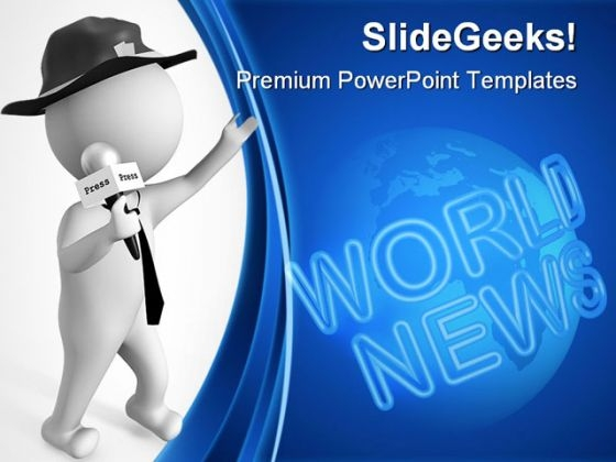 Journalist With Microphone Global PowerPoint Themes And PowerPoint Slides 0411