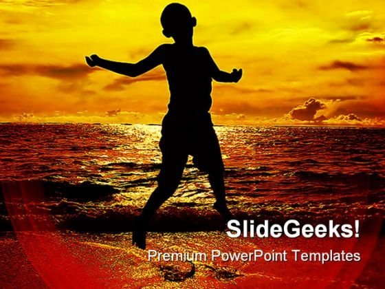 Jump Of Joy Beach PowerPoint Backgrounds And Templates 0111