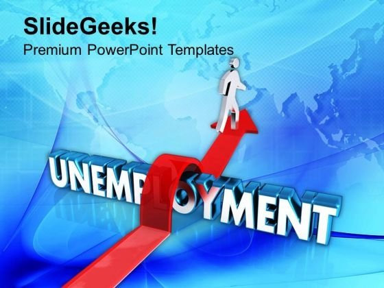 A person rises on an arrow over the word unemployment powerpoint jump the bar to get success powerpoint templates ppt backgrounds for slides 0413 toneelgroepblik Choice Image
