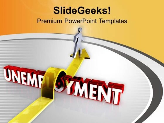 A person rises on an arrow over the word unemployment powerpoint jump the unemployment to get job powerpoint templates ppt backgrounds for slides 0513 toneelgroepblik Image collections