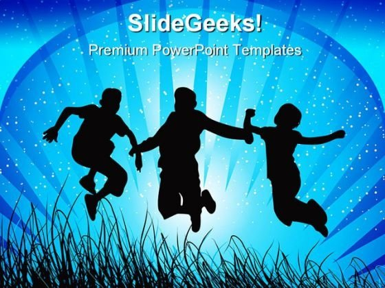 Jumping Children PowerPoint Themes And PowerPoint Slides 0411