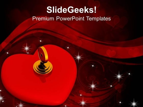 Key Lock Red Heart Security PowerPoint Templates Ppt Backgrounds For Slides 0213