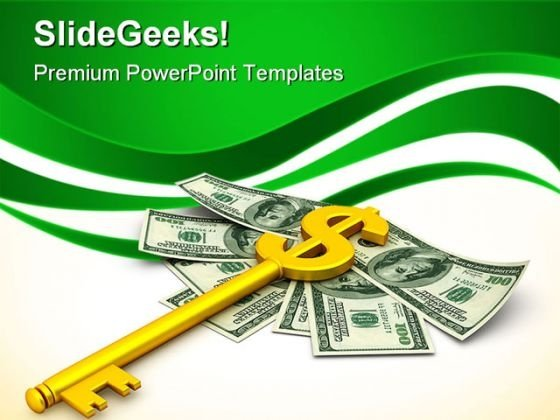 Key With Dollar Finance Security PowerPoint Templates And PowerPoint Backgrounds 0911