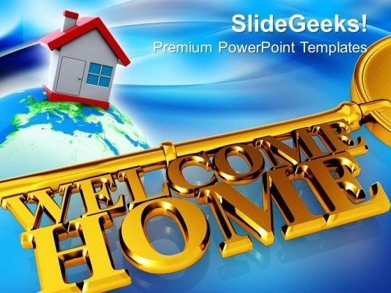 Key With Welcome Home Real Estate PowerPoint Templates And PowerPoint Themes 0812