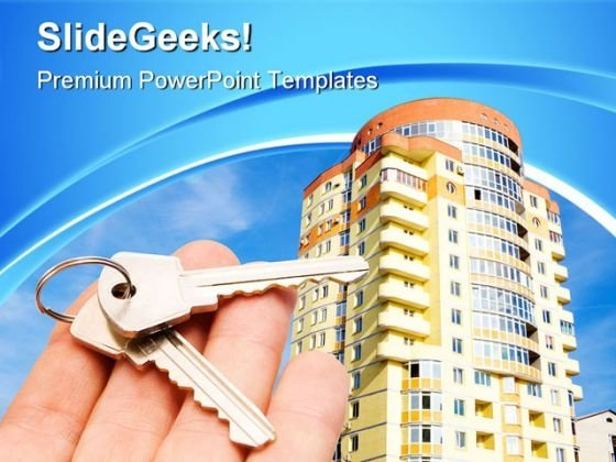 Keys With House Real Estate PowerPoint Templates And PowerPoint Backgrounds 0611