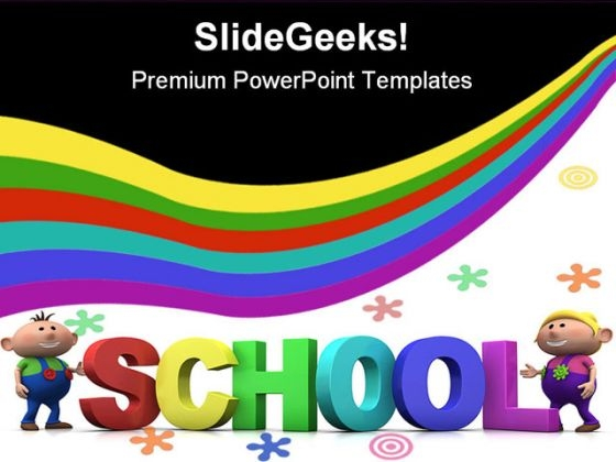 Kids With School Education PowerPoint Template 1110