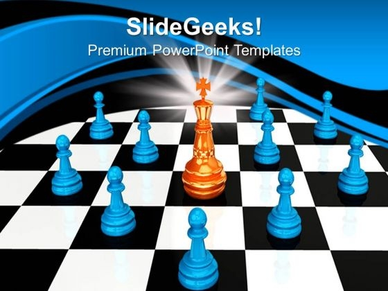 King Chess Pieces Success PowerPoint Templates And PowerPoint Themes 0812