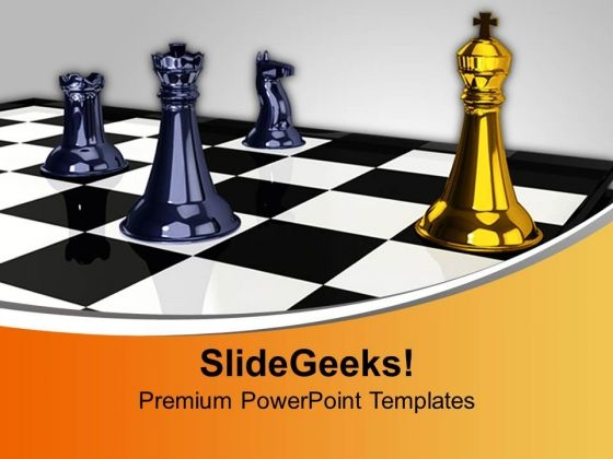 King In Front Of Pawns Game PowerPoint Templates And PowerPoint Themes 1012