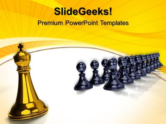 King In Front Pawns Competition PowerPoint Templates And PowerPoint Themes 0612